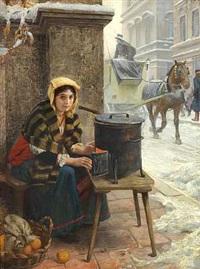 italienerinde, der varmer sig ved en brændeovn på gaden en vinterdag by angelo comte de courten