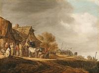 halt in front of a tavern by jan josefsz van goyen