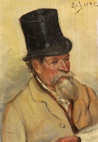 gentleman in top hat with newspaper by félix armand marie jobbe-duval