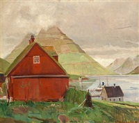 view from klaksvik, the faroe islands by rudolph jacobsen