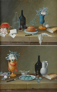 still life of fruit, kitchenware, bread and artichokes (+ 3 others; 4 works) by paul lelong