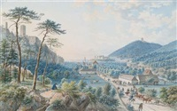 blick in eine weite, mit einem schloss auf einer anhöhe (österreichische landschaft?) by tobias dyonis raulino