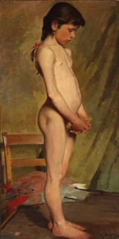 a little girl as model (study) by hermann behrens