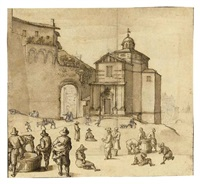 figures and animals outside the gate of a town by remigio cantagallina