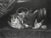 still life of birds with a wicker basket upon a ledge    covered with a green cloth by alexander adriaenssen