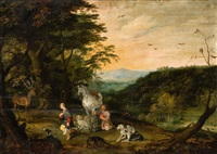 a landscape with saint hubert by jan brueghel the younger