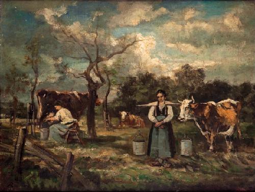campesinas con ganado en un paisaje by marie abraham rosalbin de buncey