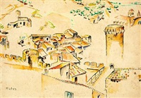 view over village, southern france by maria-mela muter