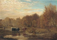 cattle watering at sunset by w.h. simpson