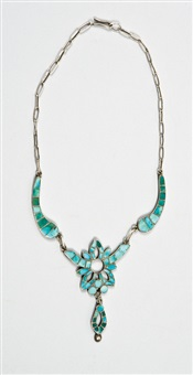 turquoise channel-inlaid choker by frank vacit