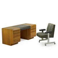 crescent double pedestal desk and prew tilt chair (2 works) by vladimir kagan