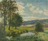 spätsommer am bach by louis lejeune