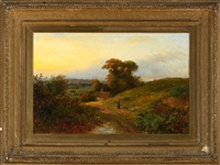 view of a woman walking on a hilly countryside path at sunset by claridge turner