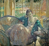 young woman seated on sofa (+ seated young woman; verso) by richard edward miller