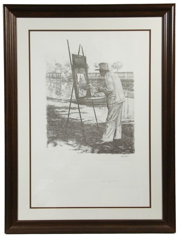 portrait of sir winston churchill painting at his outdoor easel wremarque by curtis hooper
