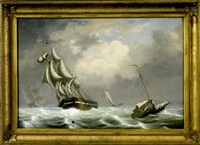 """ships in a squall"" off the coast of gloucester by fitz henry lane"