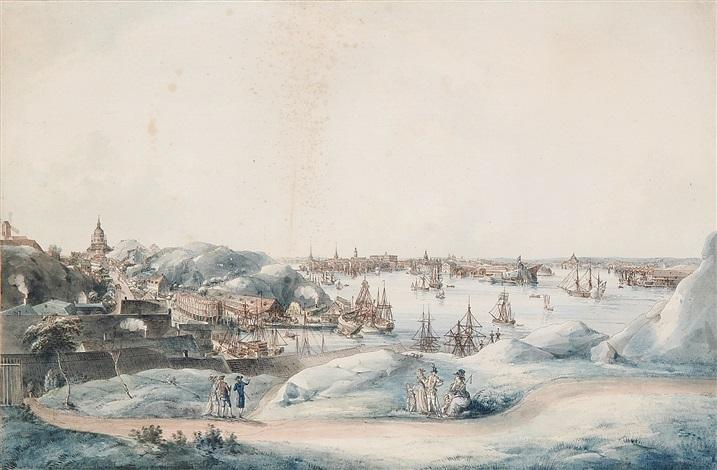 utsigt af stockholm åt saltsjön tagen på lundins malmgård på södermalm by johan fredrik martin