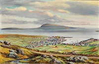 view over tórshavn towards nólsoy, the faroe islands by joen waagstein