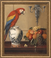 still life of macaw, chinese vase and fruit by alexander pope