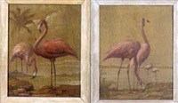 flamingos in a tropical landscape (pair) by alphonse t. toran