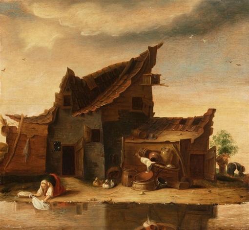 bauernhütte mit angebautem stall vor stillem gewässer by egbert lievensz van der poel