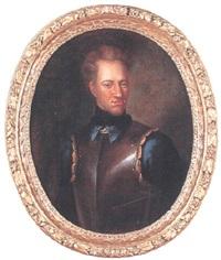 porträtt av karl xii iklädd blå rock, harnesk samt svart haldsuk by johann david swartz