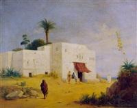 algerisches haus mit figurenstaffage am mittelmeer by ferdinand wachsmuth