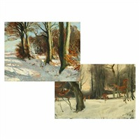 winter landscapes (2 works) by hans mortensen agersnap
