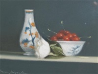 still life of fruit and crockery (+ 2 others; 3 works) by pierre jacquelin