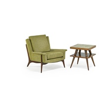 lounge chair and side table (2 works) by vladimir kagan