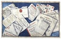 trompe l'œil med böcker, sedlar, spelkort, brev... by johan caspar jung