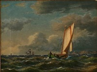seascape with sailing ships off a coast by carl buntzen