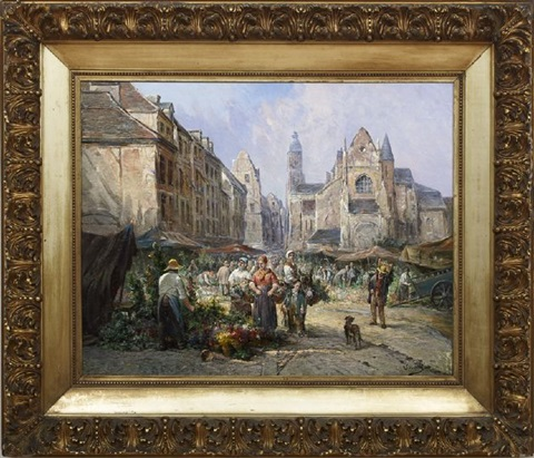 a busy flower market in a french town square by léonard saurfelt