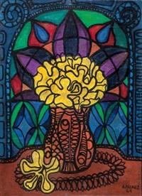flores frente a la vidriera by amelia peláez