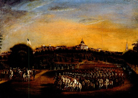 the national lancers with the reviewing officers on boston common by fitz henry lane