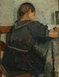 girl in a blue dress seen from behind by carl h. fischer