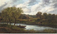an angler on a boat, with cattle grazing beyond by edward a. atkyns