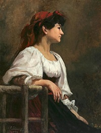 seated woman with a red kerchief by anna elisabeth klumpke
