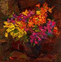 blumenstrauss in dunkler vase by viktor lederer