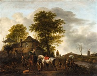 a landscape with horsemen and peasants (collab w/workshop) by philips wouwerman