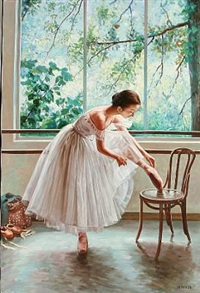 a ballet girl tie her shoes by alexander akopov