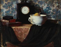 still life with book, fruit bowl and clock on a table by herman albert gude vedel