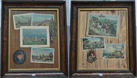 due trompe l'oeil con miniature e passaggi con architetture by frederick victor bailey