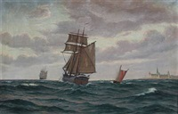 sailing ships off kronborg castle by axel bulow