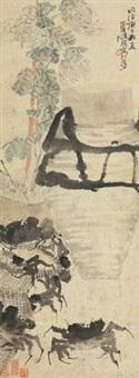 菊蟹重阳 by ren bonian