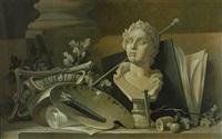 vier gemälde als pendants mit allegorischen darstellungen von malerei und bildhauerei, musik, geographie und kriegskunst (4 works) by anonymous (20)