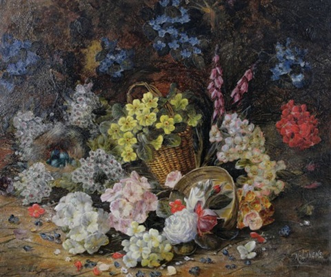 still life of flowers by henry j livens