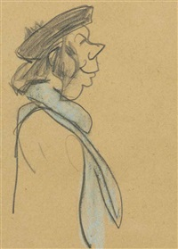 woman with the blue scarf by lyonel feininger