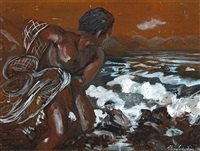 fisherman throwing a net by j. llaine colquhoun