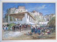 horses and crowds outside an italian town by charles h. poingdestre